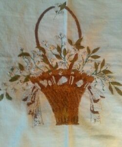 Antique Basket Embroidery Forget Me Not Embroidered Handmade Stitchery $64.99
