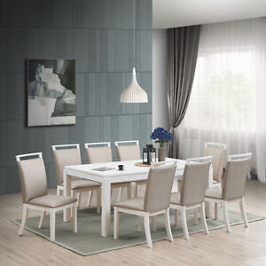 Kings Brand Furniture Austin 9 Piece Dining Set Table 8 Chairs Gray White