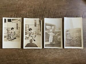 Lot of 4 Antique Photos Child in Stars amp; Stripes