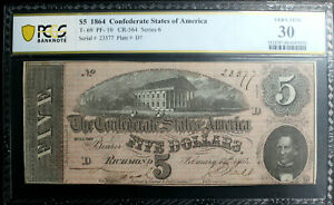 T 69 $5 1864 Confederate Currency CSA Civil War Graded PCGS VERY FINE 30 CLEAN