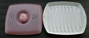 NEW Joie Piggy Pig Microwave Bacon Tray Cooker w Splatter Lid