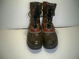 Maine Hunting Shoe by L L Bean Men#x27;s Brown Leather Rubber Hunting Boots Size 8M