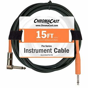 ChromaCast Orange Pro Series Instrument Guitar Cable 15 Foot Straight Angle $11.98