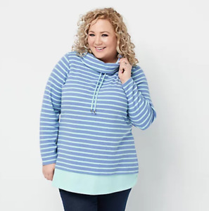 Denim Co. Regular Striped Waffle Knit Tunic with Solid Trim Chambray Blue 2X $13.00