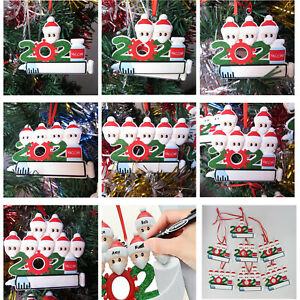 Diy Personalized 2021 Christmas Tree Ornaments Mask Vaccine Hanging Family Gifts $5.99