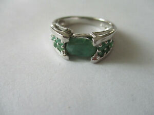 Single stone Real Emerald sterling silver ring Oval cut green emerald size 7 $22.45