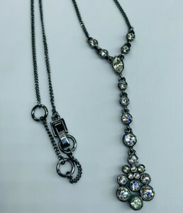 GIVENCHY Silver Tone Y Necklace Clear Rhinestone Floral Pendant Adjustable Chain $22.11