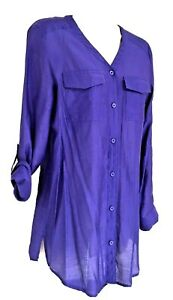 CHICOs Purple Rayon Button Down V Neck Tunic Blouse Roll Tab Sleeves XS $19.99