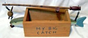 My Big Catch Fishing Decor 12quot; fish with Pole Bobber Hook Sinkers amp; Storage