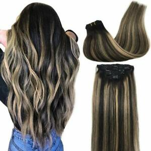 GOO GOO Real Hair Extensions Clip in Human Hair Ombre black to light blonde 14in $49.99