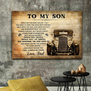To My Son Love Dad Truck Driver Canvas Poster Vintage Gift Wall Decor $17.28