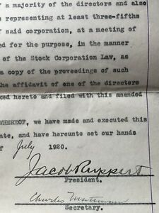 JACOB RUPPERT Signed Contract From 7 27 1920 Great Signature Autograph $480.00