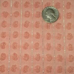 Vintage peachy pink pops silver lurex Chenille Bedspread FABRIC 20 x 25