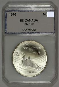 1976 $5 Canada Silver Montreal Olympiad KM 109 Vintage Holder $35.00