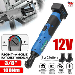 3 8quot; Right Angle Cordless Electric Ratchet Wrench with 2 Batteries Kit US hot $31.99