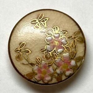 Antique Button Lovely Japanese Satsuma Pottery with Pink  Gold Florals