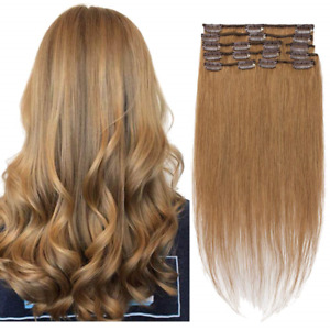 Clip in Hair Extensions 100% Human Hair Clip On Real Hair Standard Weft Natural $38.62