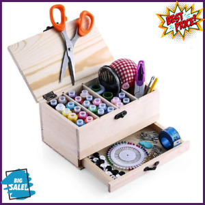Professional Wooden Sewing Basket Set with Box Premium Brand new $18.01