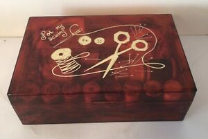 """""""For My Sewing"""" Amber Marbled Plastic sewing Box With Notions Vtg mid century $18.95"""