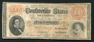 T 24 1861 $10 TEN DOLLARS CSA CONFEDERATE STATES OF AMERICA CURRENCY NOTE