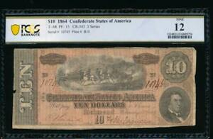 AC T 68 $10 1864 Confederate Currency CSA PCGS 12 PF 15