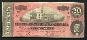 """T 67 1864 $20 CSA CONFEDERATE STATES OF AMERICA """"DARK RED"""" *LOW SERIAL #60* XF"""