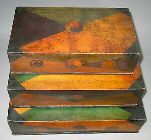 A Korean Fine Paper Marche 3 Stacking Sewing Boxes 19th C.: $1300.00