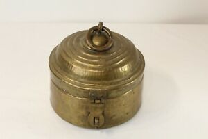 Antique Middle Eastern Brass Metal Circular Storage Box With Lid Engraved Words $99.99