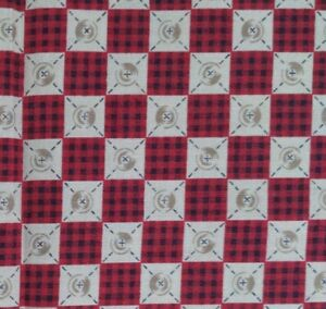 1yd Vintage Fabric Traditions Button Sewing Red Plaid #1310 $9.99