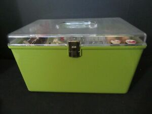 VTG Wilson WIL HOLD Green Plastic SEWING BOX w 2 trays USA w VTG notions $39.99