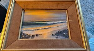 VINTAGE SIGNED RUSSELL ORIGINAL OIL ON CANVAS SEASCAPE PAINTING 5quot;X 7quot; FRAMED $75.00