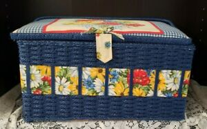 Large Vintage SEWING BASKET with Old Sewing CollectablesBlue satin Lining #9004 $22.00