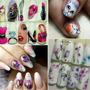 Nail Stickers Butterfly Flower Nail Art DIY Waterproof Adhesive Transfer Decals C $1.07