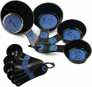 Chef Craft Easy To Read Plastic Measuring Cup Set 10 Piece Blue