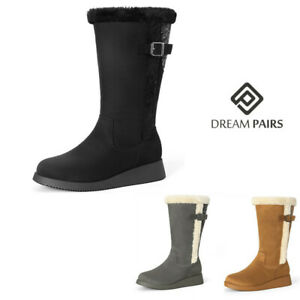 DREAM PAIRS Women Winter Faux Fur Lined Wide Mid Calf Boots Zip Up Snow Boots $36.79