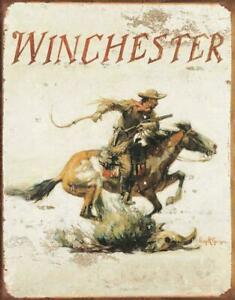 Winchester Logo Metal tin sign Hourse hunting Cabin home Wall decor #1421
