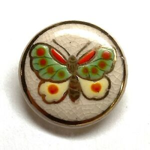 Antique Button Sweet Japanese Satsuma Pottery with Gilded Butterfly