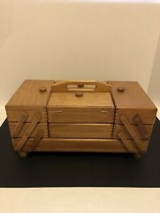 Vintage Wooden Sewing Box 1960's 1970's. Packed with Vintage Accessories $200.00