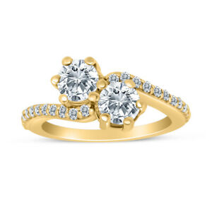 1.00ctw Diamond Two Stone Ring in 14k Yellow Gold $774.99