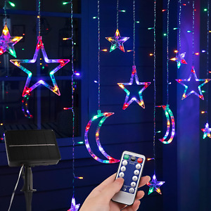 Solar Star Moon String Lights Outdoor with Remote 138 LED 8 Lighting Modes Wate $37.99