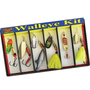 Mepps K6A Walleye Kit Plain and Dressed Lure Assortment