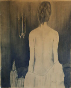 Elegant Lady 16 x 20 in. charcoal drawing on paper portrait bedroom modern $99.00