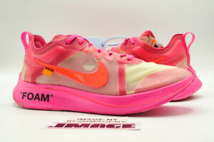 NIKE ZOOM FLY USED SIZE 10 OFF WHITE TULIP PINK RACER PINK AJ4588 600
