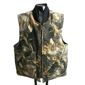 Carhartt RealTree Hardwoods Camo Vest Large Quilt Lined V20 CMO Made in USA EUC