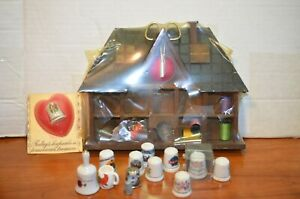 Vintage Wooden Sewing House Storage Kit 11 Thimbles 5 Spools of Thread Plus $17.99