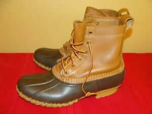 LL BEAN Maine Waterproof Hunting Boots MENS 10 M Duck Rubber Brown Leather USA