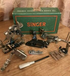 6x Vintage Singer Sewing Machine Attachments Lot With Box amp; Screwdriver $25.99
