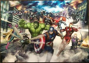 Kids Marvel 11 Faces Avengers lithograph 27x19 Not Framed In Good Used shape $18.00