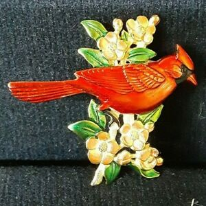 Vintage Signed JJ Beautiful Red Cardinal on Flowers Leaves Gold Tone Pin Brooch $10.00