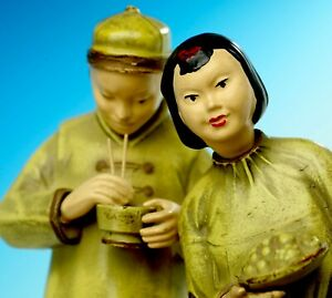 ANTIQUE CHINESE FIGURINES MARBLE BASE COLD PAINTED CHARMING AND OLD $175.00